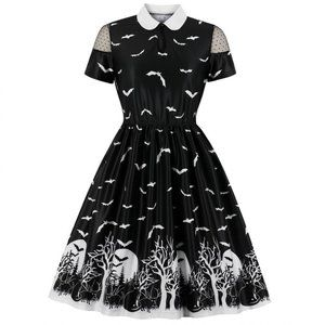 Cats & Bats Spooky Forest Printed Dress